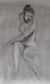 Life drawing, charcoal on paper.