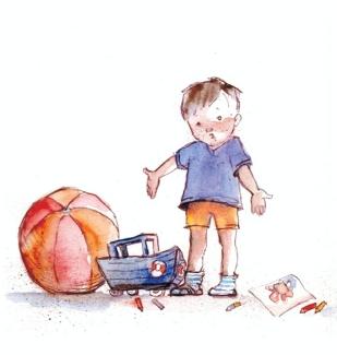 Watercolor, sepia pen
