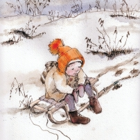 First Snow, Sleds, watercolor and sepia pen