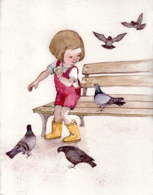 Pigeons. Paper, watercolors, colored pencil