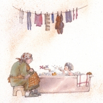 First Snow, Bath Time, watercolor and sepia pen