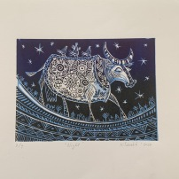 The Cow - Night, linocut